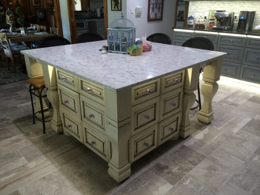 Beautiful kitchen island with marble top